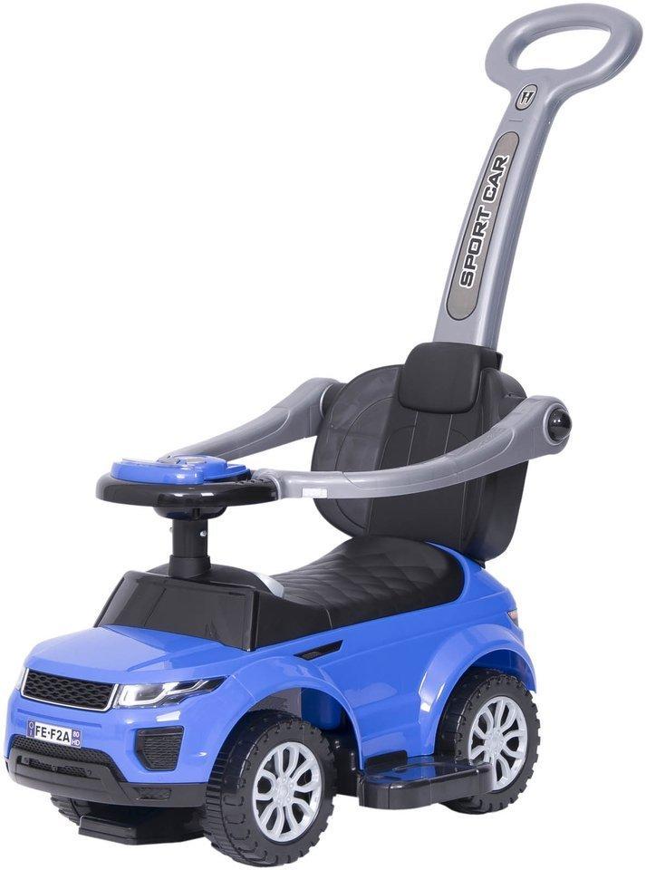 Jeździk / odpychacz CAR z prowadnikiem na palstikowych kołach - NIEBIESKI