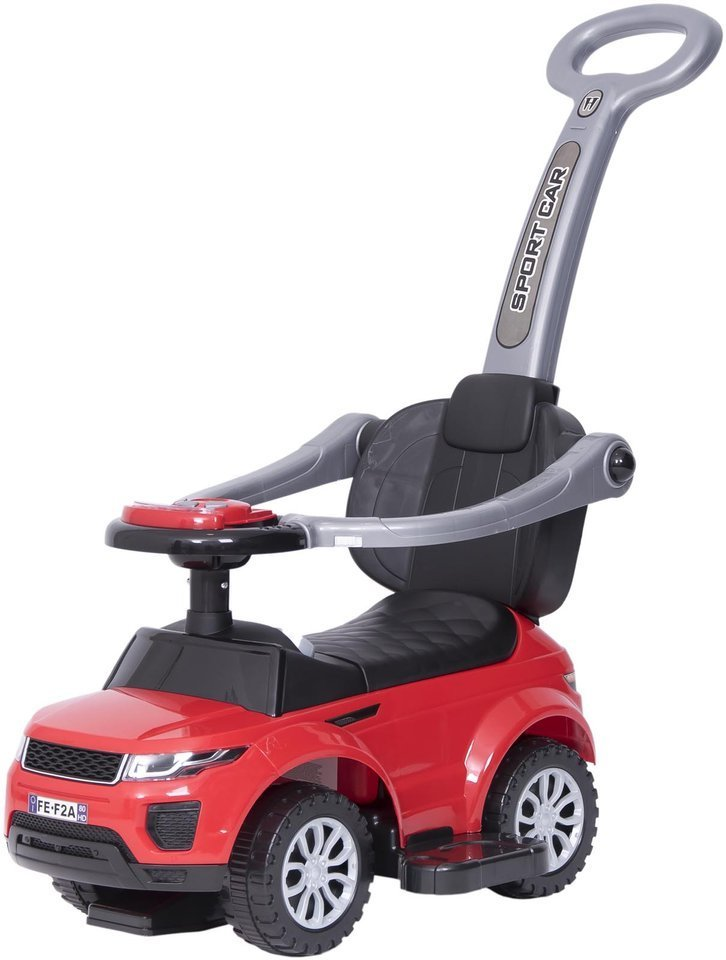 Jeździk / odpychacz CAR z prowadnikiem na palstikowych kołach - czerwony