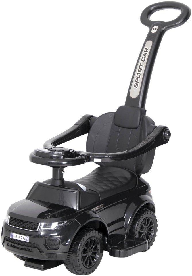 Jeździk / odpychacz CAR z prowadnikiem na palstikowych kołach - CZARNY