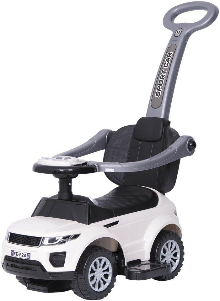 Jeździk / odpychacz CAR z prowadnikiem na palstikowych kołach - BIAŁY