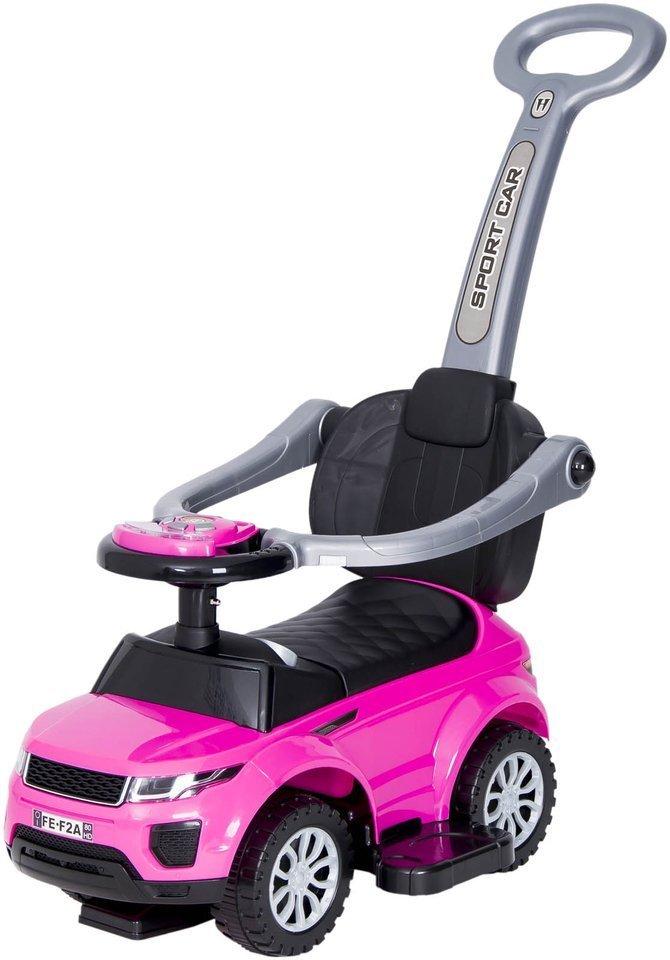 Jeździk / odpychacz CAR z prowadnikiem na palstikowych kołach - RÓŻOWO-CZARNY